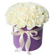 White roses in a box - flowers and bouquets on vambuket.com
