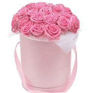 Pink roses in a box - flowers and bouquets on vambuket.com