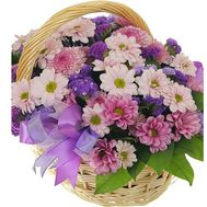 Basket of flowers from 13 multi-colored chrysanthemums - flowers and bouquets on vambuket.com