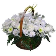 Basket of flowers from 7 roses and 10 chrysanthemums - flowers and bouquets on vambuket.com