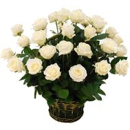 Basket of flowers of 29 white roses - flowers and bouquets on vambuket.com