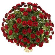 Basket of flowers from 101 red roses - flowers and bouquets on vambuket.com