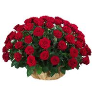 Basket of flowers from 51 red roses - flowers and bouquets on vambuket.com