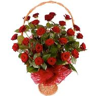 Basket of flowers of 25 red roses - flowers and bouquets on vambuket.com