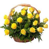 Корзина квітів з 25 жовтих троянд - цветы и букеты на vambuket.com