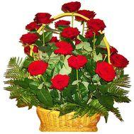 Корзина цветов из 21 красной розы - цветы и букеты на vambuket.com