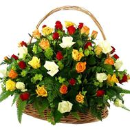 Basket of flowers from 51 multi-colored roses - flowers and bouquets on vambuket.com