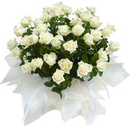 Basket of flowers from 51 white roses - flowers and bouquets on vambuket.com
