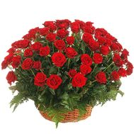 Basket of flowers from 75 red roses - flowers and bouquets on vambuket.com