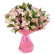 Bouquet of 21 white and pink alstroemeria - flowers and bouquets on vambuket.com