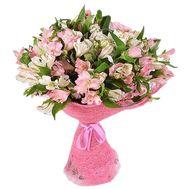 Букет из 21 белой и розовой альстромерии - цветы и букеты на vambuket.com