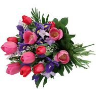 Bouquet of flowers from pink tulips and irises - flowers and bouquets on vambuket.com