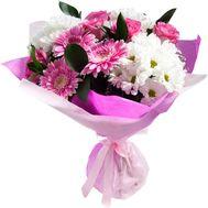 Букет из 5 роз, 3 хризантем и 3 гербер - цветы и букеты на vambuket.com