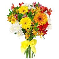Bouquet of flowers from 3 gerberas, 3 chrysanthemums and 11 alstroemerias - flowers and bouquets on vambuket.com