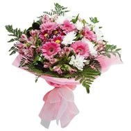Bouquet of flowers from 5 gerberas, 7 chrysanthemums and 5 alstroemerias - flowers and bouquets on vambuket.com