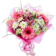 Bouquet of flowers from 3 gerberas, 3 chrysanthemums and 3 alstroemerias - flowers and bouquets on vambuket.com