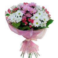 Bouquet of flowers from 15 chrysanthemums and 7 roses - flowers and bouquets on vambuket.com