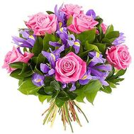 Bouquet of flowers from pink roses and irises - flowers and bouquets on vambuket.com
