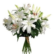 Bouquet of 7 white lilies flowers - flowers and bouquets on vambuket.com