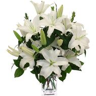 Bouquet of flowers of 5 white lilies - flowers and bouquets on vambuket.com