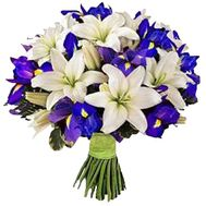 Bouquet of 7 lilies and 15 irises flowers - flowers and bouquets on vambuket.com