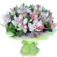 Bouquet of flowers from 19 flowers of white and pink orchids - flowers and bouquets on vambuket.com