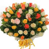 Bouquet of 55 multi-colored roses - flowers and bouquets on vambuket.com