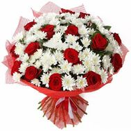 Bouquet of flowers from 15 roses and 16 chrysanthemums - flowers and bouquets on vambuket.com