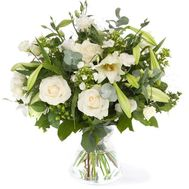 Bouquet of flowers from 9 roses, 1 lilies and 5 chrysanthemums - flowers and bouquets on vambuket.com