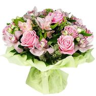 Bouquet of flowers of 11 roses, 9 orchids and 7 alstroemerias - flowers and bouquets on vambuket.com