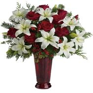 Bouquet for the New Year from roses and lilies - flowers and bouquets on vambuket.com