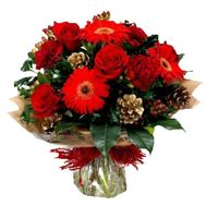Bouquet for Christmas from roses and gerberas - flowers and bouquets on vambuket.com