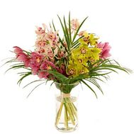 Bouquet of flowers from 5 branches of a multicolored orchid - flowers and bouquets on vambuket.com