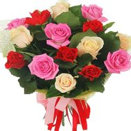 Bouquet of 21 multi-colored roses - flowers and bouquets on vambuket.com