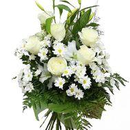 Букет цветов из 6 роз, 6 хризантем и 1 лилии - цветы и букеты на vambuket.com