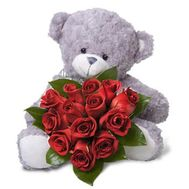 13 roses + teddy bear - flowers and bouquets on vambuket.com