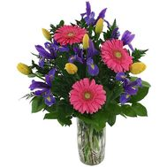 Bouquet of flowers from irises, gerberas and tulips - flowers and bouquets on vambuket.com
