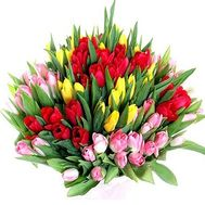 Bouquet of 101 different colored tulips - flowers and bouquets on vambuket.com