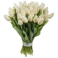 Bouquet of flowers from 35 white tulips - flowers and bouquets on vambuket.com
