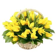 Basket of flowers from 45 yellow tulips - flowers and bouquets on vambuket.com