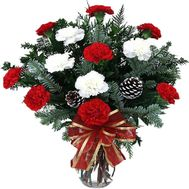 New Year bouquet of spruce and carnations - flowers and bouquets on vambuket.com