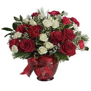 New Year bouquet of roses and spruce - flowers and bouquets on vambuket.com