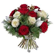 New Year bouquet of roses and pine branches - flowers and bouquets on vambuket.com