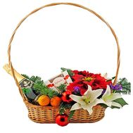 Christmas basket with flowers and fruits - flowers and bouquets on vambuket.com