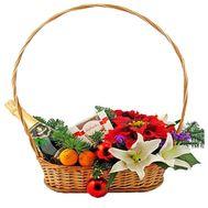 Новогодняя корзина с цветами и фруктами - цветы и букеты на vambuket.com