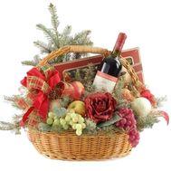 Подарочная корзина фруктов на Новый год с цветами и елкой - цветы и букеты на vambuket.com