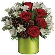 Christmas arrangement of roses and cones - flowers and bouquets on vambuket.com