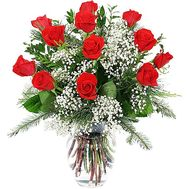 Christmas bouquet of roses and spruce Roses in the snow - flowers and bouquets on vambuket.com