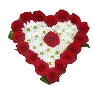 Сердце из роз и хризантем - цветы и букеты на vambuket.com