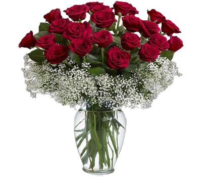 """""""Bouquet of 25 red roses flowers"""" in the online flower shop vambuket.com"""